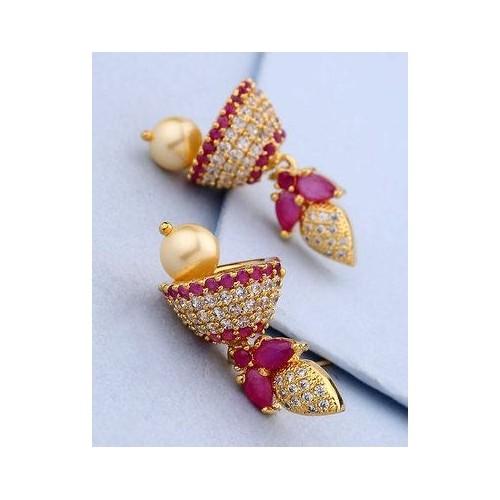 e04177047 Buy Voylla Golden Alloy Diamond Jhumka Earrings online