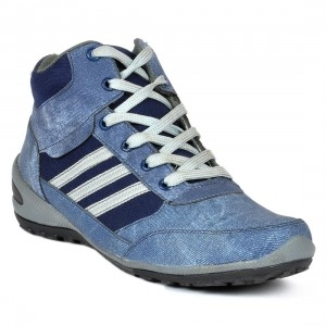 Footlodge Blue Leather Men'S Casual Lace-Up Shoes