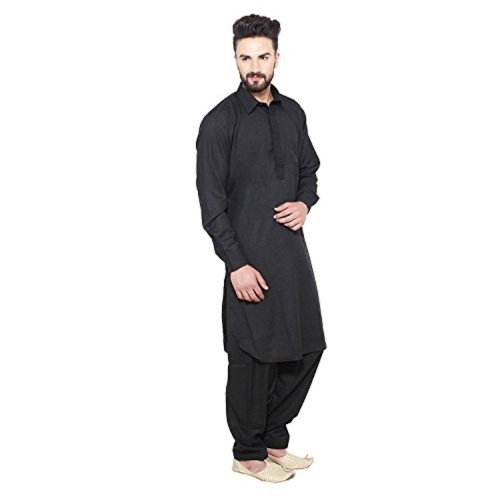 Royal Black Solid Pathani Suit For Men