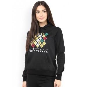 The Vanca Black Printed Hooded Sweatshirt
