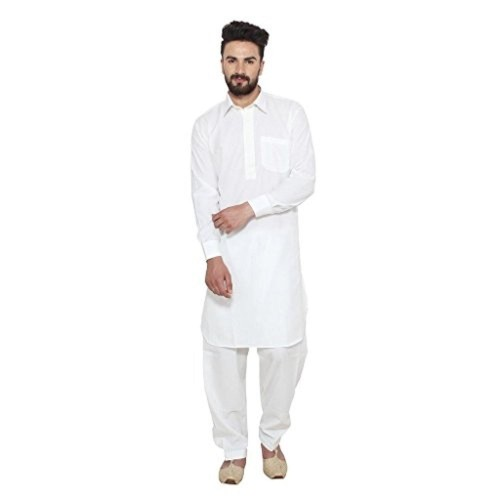Royal White Solid Traditional Pathani Suit With Classic Collar