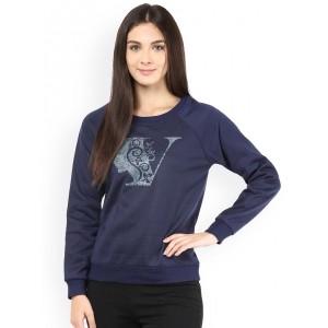 The Vanca Navy Blue Printed Sweatshirt