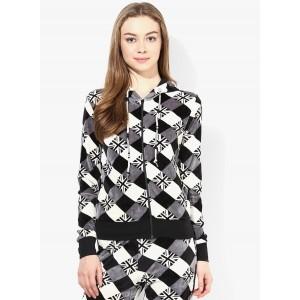 Tshirt Company Black Full Sleeve Checkered Women's Sweatshirt