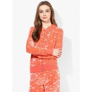 Tshirt Company Orange Full Sleeve Self Design Women's Sweatshirt