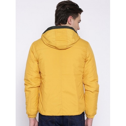 Flying Machine Yellow & Black Hooded Reversible Jacket