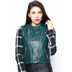 Bareskin Teal Leather Women's Sleeveless Jacket