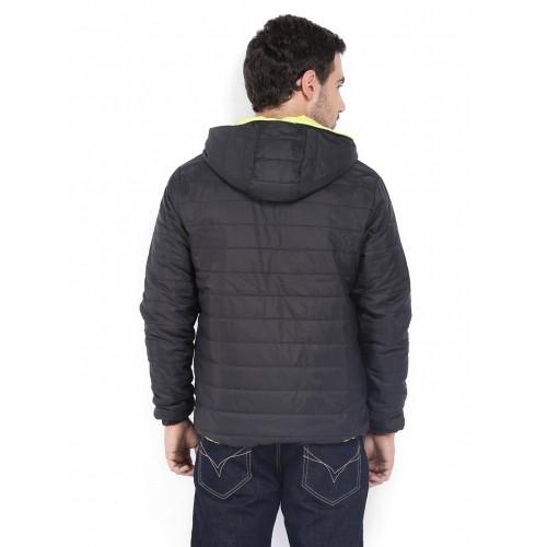 Flying Machine Men Black Hooded Reversible Jacket