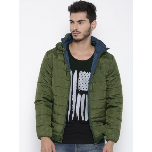 Roadster Olive Green Hooded Quilted Jacket