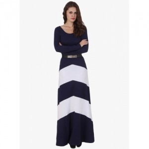 Texco Navy Blue Colored Solid Maxi Dress