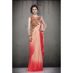 Shaded Peach & Red Color Saree Style Gown