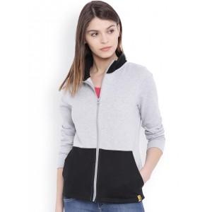 Campus Sutra Grey & Black Jacket