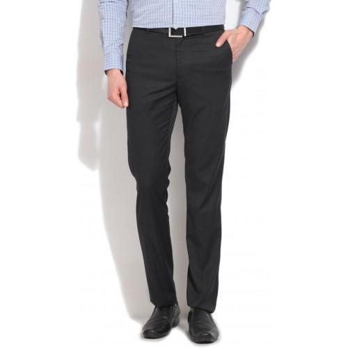 AD & AV Black Cotton Solid Regular Fit Formal Trousers