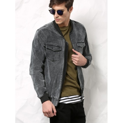 Buy SKULT Dark Grey Denim Jacket online | Looksgud.in