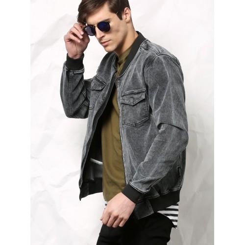Dark grey denim jacket – Modern fashion jacket photo blog