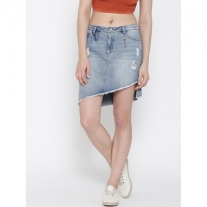 ONLY Blue Washed Distressed Denim Skirt For Women