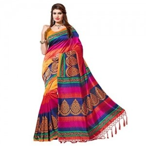 E-Vastram Multicolor Art Silk Printed Saree