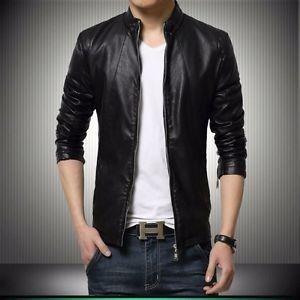 Gordania Stylish Slim Fit Formal Faux Leather Jacket For Men