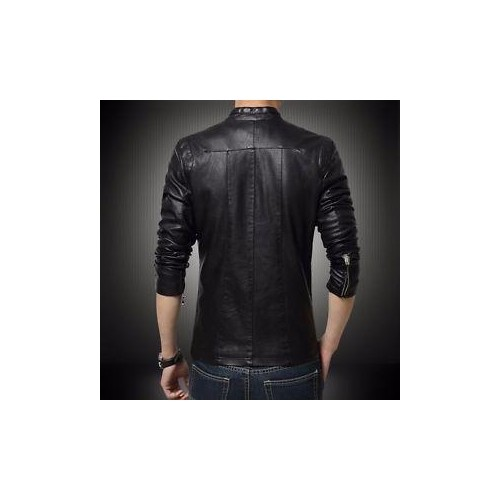 Gordania Stylish Slim Fit Formal Faux Leather Jacket For Men