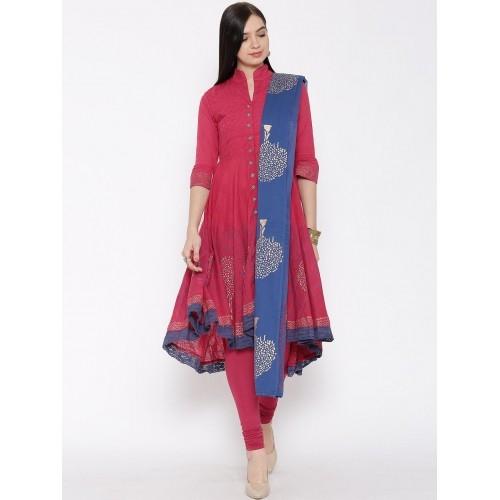 0cfe2109404 Buy Biba Pink Churidar Printed Anarkali Churidar Kurta with Dupatta ...