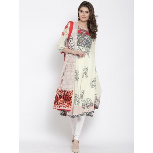 f08983c9566 Buy Biba Off-White Printed Anarkali Churidar Kurta with Dupatta ...