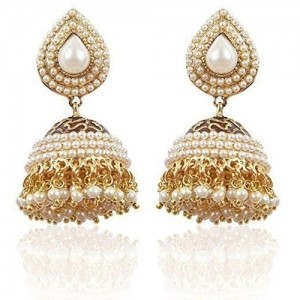 Shining Diva Golden Jhumki Earrings For Women