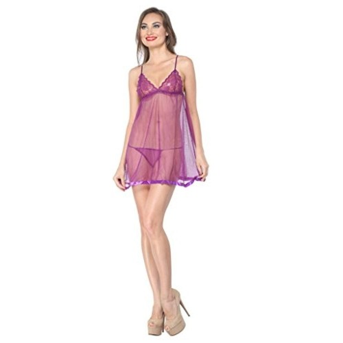 70a2bd92696 Buy Diovanni Purple Nightwear Hot Nighty For Honeymoon online ...