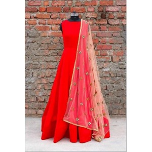 Red Color Taffeta Fabric Floor Length Semi-Stitched Top