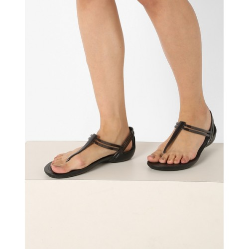 Crocs Black Synthetic Leather Flat Sandal