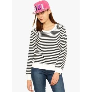 Vvoguish White Fleece Striped Sweatshirt