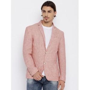 Jack & Jones Coral Red Linen Full Sleeves Blazer