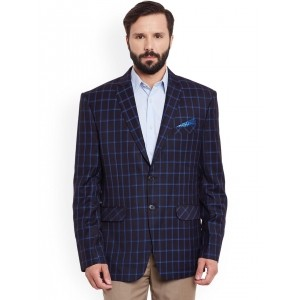 Canary London Black & Blue Checked Acrylic Printed Single-Breasted Casual Blazer