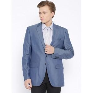 Park Avenue Blue Cotton Solid Slim Fit Formal Blazer