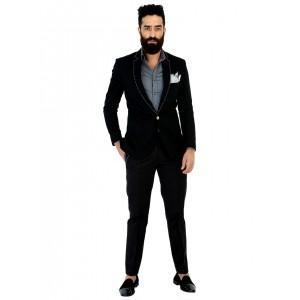 Mr Button Black Blazer With White Stitch Details