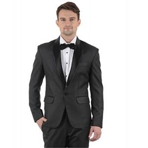 MENJESTIC Black Slim Fit Tuxedo Blazer
