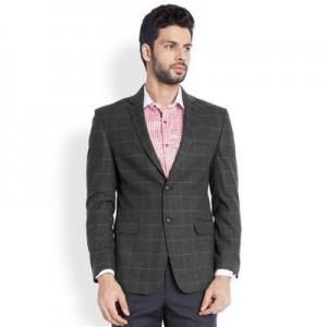 Park Avenue Men's Grey Checkered Slim Fit Blazer