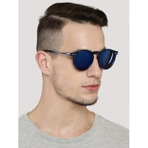Pataaka Blue Printed Frame Round Sunglasses