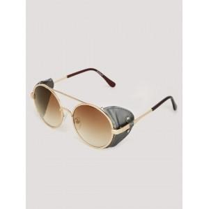 Pataaka  Brown Metal Round Sunglasses
