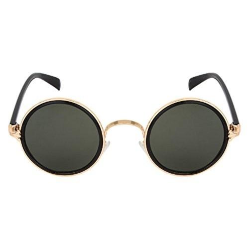 ZYX Black Plastic Round Sunglasses