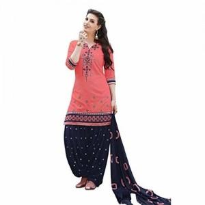 Kvsfab Cotton Patiala Salwar Suit Dress Material, Peach & Blue