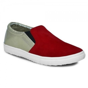 Get Glamr Red & Silver-Toned Colourblock Casual Shoes
