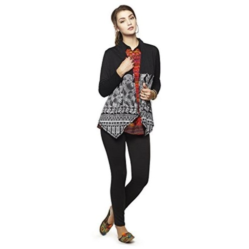 Global Desi Black Printed Blouson Shrug
