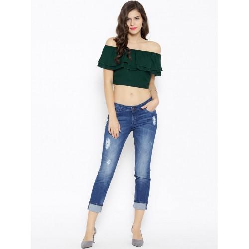5a736d0ace417 Buy SASSAFRAS Green Off-Shoulder Crop Top online