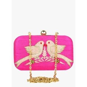 Hepburnette Pink Silk Clutch