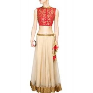 Kenil Fabrics Cream & Red Net Embroidered Women's Lehenga Choli