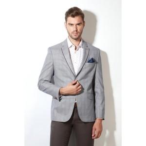 Van Heusen Gray Polyester Checkered Single Breasted Casual Men's Blazer