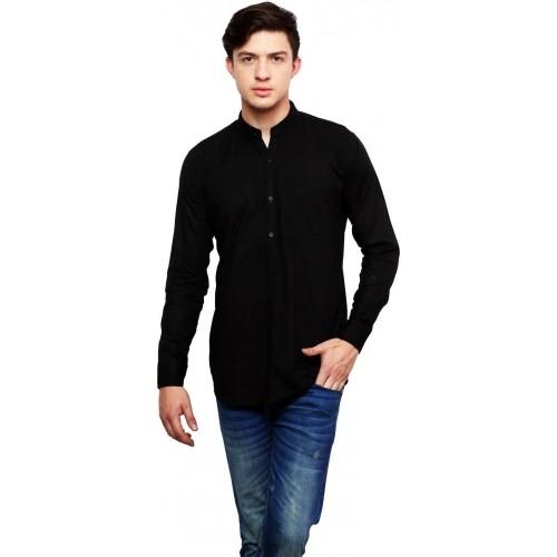 Dennis Lingo Black Cotton Solid Casual Shirt