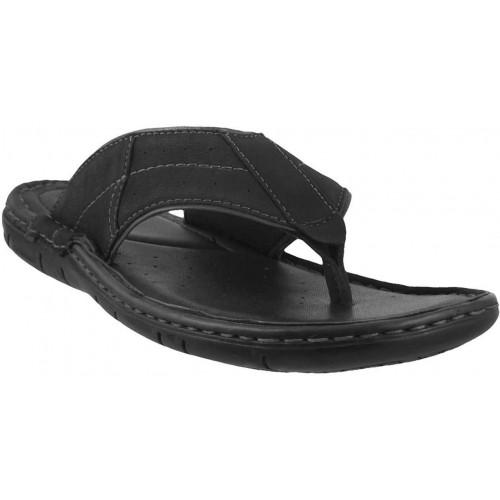 Buy Metro Men's Black Leather Chappals