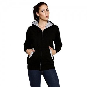 Goodtry Black Cotton Hooded Sweater