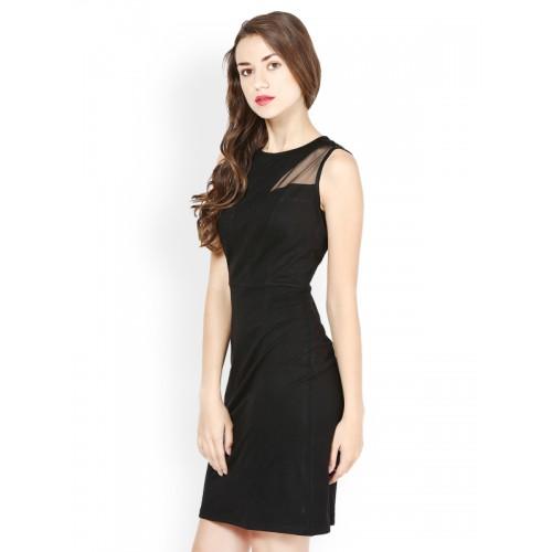 Besiva Women Sheath Black Dress