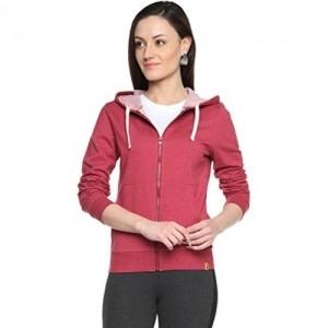 Campus Sutra Maroon Cotton Zipper Hoodie Sweater